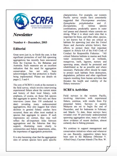 Newsletter 4 (December 2003)