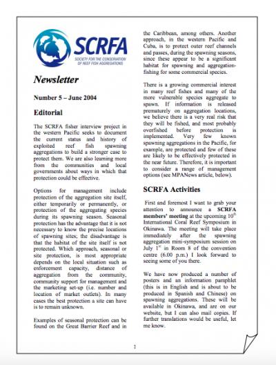 Newsletter 5 (June 2004)