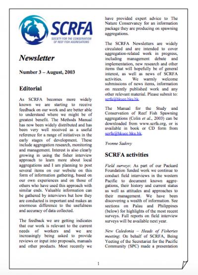 Newsletter 3 (August 2003)