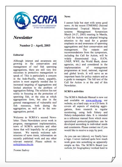 Newsletter 2 (April 2003)