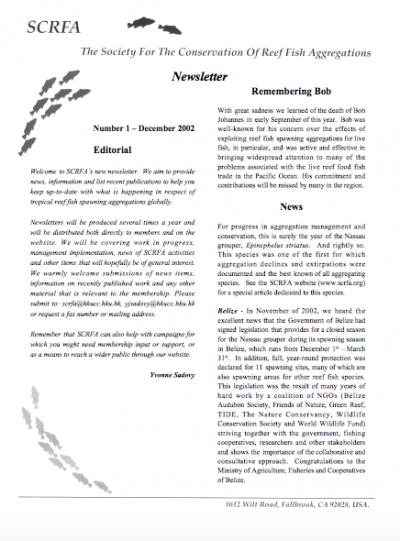 Newsletter 1 (December 2002)